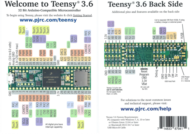 Figure 4 : Brochage de la carte Teensy 3.6